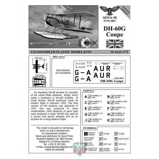Sova Model 48001 - 1/48 DH-60G Coupe (British Polar expedition) scale model kit