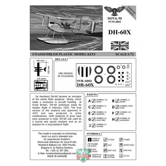 Sova Model 48002 - 1/48 DH-60X (in Royal New Zealand A.F. service) scale model