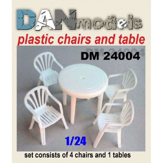 Dan Models 24004 - 1/24 Table, chairs. Set 4 chairs, 1 resin table. 3D printing