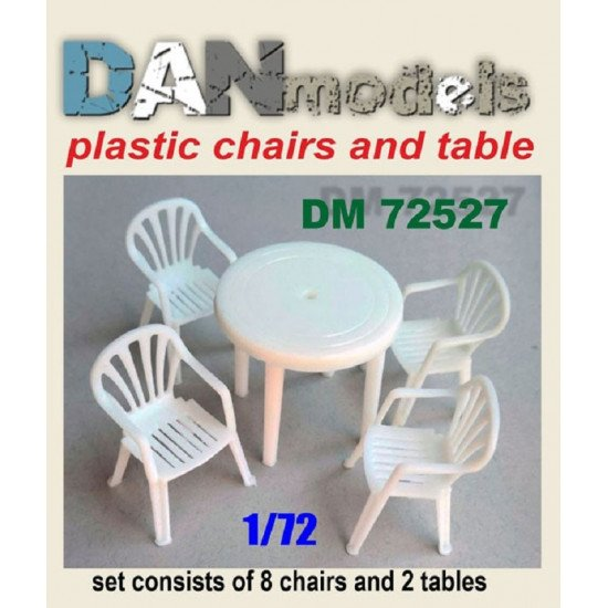 Dan Models 72527 - 1/72 Chairs, table. Set 8 tables, 1 table. resin. 3D printing