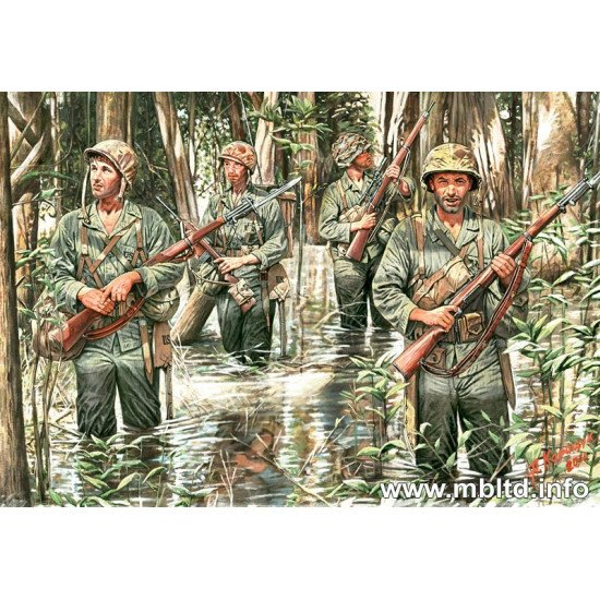 US Marines in Jungle 4 fig WWII 1/35 Master Box 3589