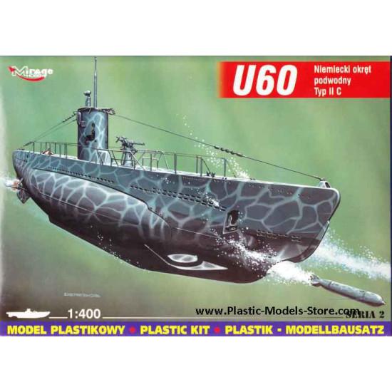 U60 Type IIc German Submarine Kit 1/400 Mirage 40025
