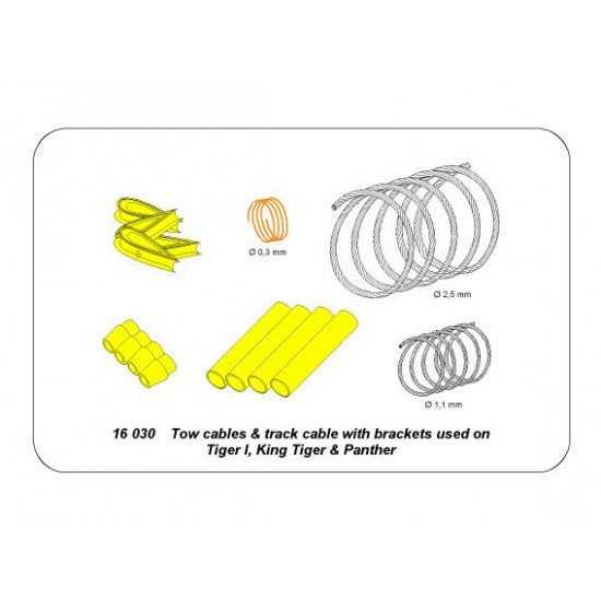 Tow cables and track cable with brackets used on Tiger I, King Tiger and Panther 1/16 Aber 16-030