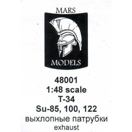 Т-34, Su-85, Su-100, Su-122 exhausts 1/48 Mars Models M48001