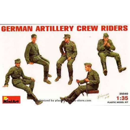 GERMAN ARTILLERY CREW RIDERS WWII PLASTIC MODEL KIT 1/35 MINIART 35040