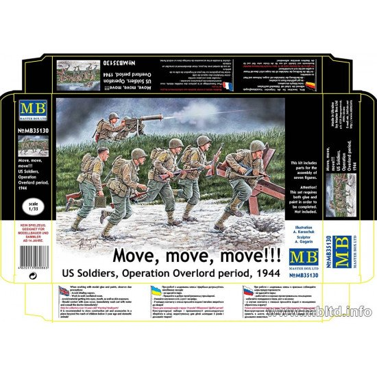 Move, move, move!!! US Soldiers, Operation Overlord period, 1944 1/35 Master Box 35130