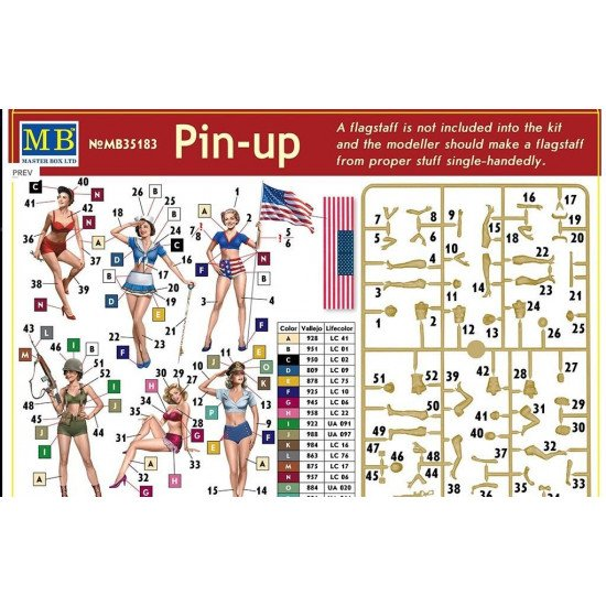 "PRETTY, NICE, SEXY US GIRLS ""Pin-Up"" 6 fig. 1/35 MASTER BOX 35183"