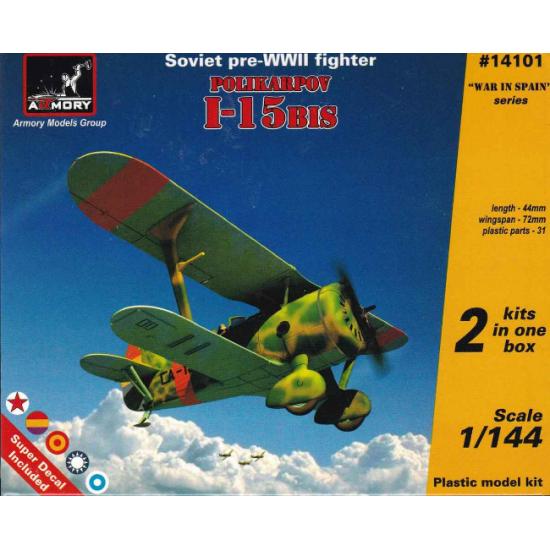 POLIKARPOV I-15BIS SOVIET PRE-WWII FIGHTER 1/144 ARMORY 14101
