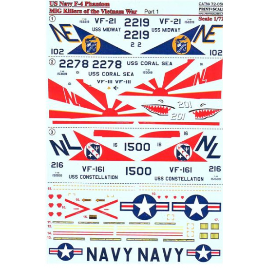 DECAL 1/72 FOR  US NAVY F-4 PHANTOM MIG KILLERS, PART 1 1/72 PRINT SCALE 72-058