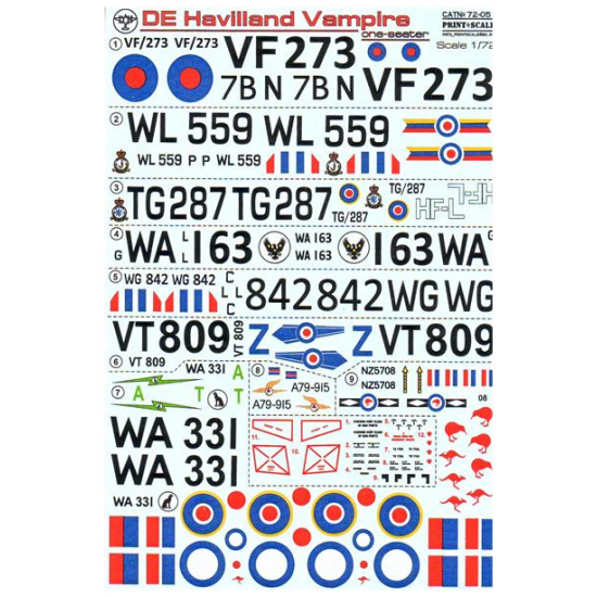 DECAL 1/72 FOR DE HAVILLAND VAMPIRE ONE SEATERS 1/72 PRINT SCALE 72-051