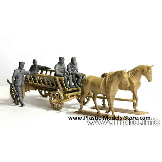 Road to the Rear 4 fig w/Farmer Cart and Horses WWII 1/35 Master Box 3558