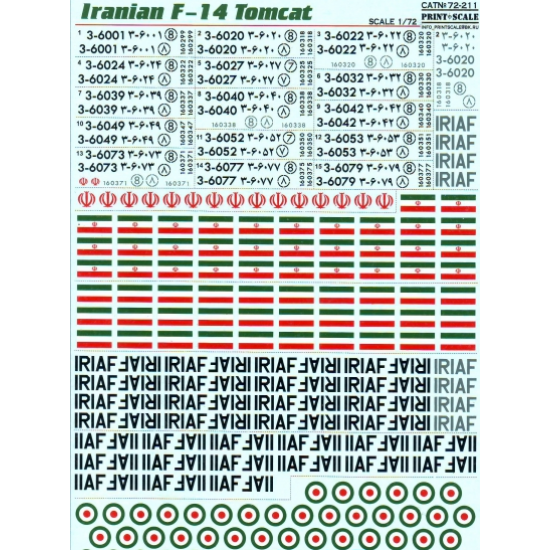 DECAL FOR IRANIAN F-14 TOMCAT 1/72 PRINT SCALE 72-211