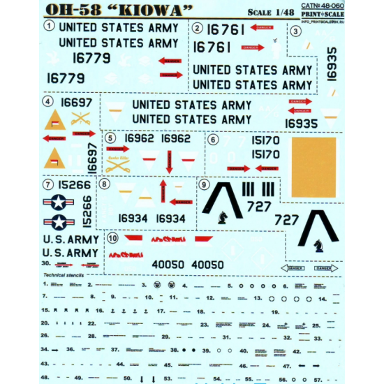 DECAL 1/48 FOR KIOWA HELICOPTER, PART 1 1/48 PRINT SCALE 48-060