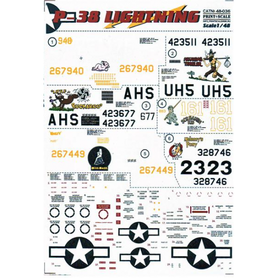 DECAL 1/48 FOR P-38 LIGHTNING PART 1 1/48 PRINT SCALE 48-036