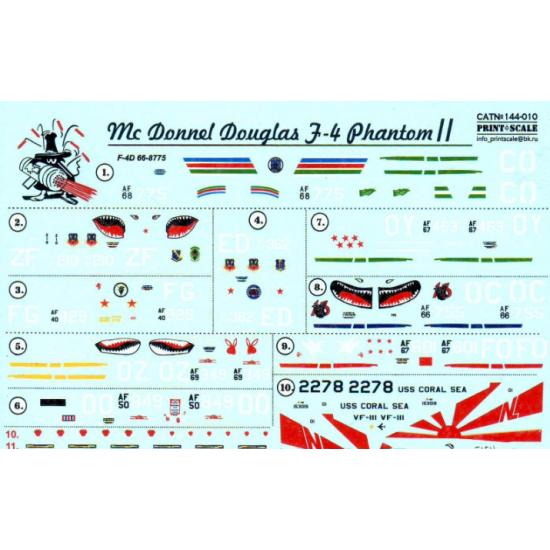 DECAL FOR F-4 PHANTOM II IN VIET NAM WAR 1/144 PRINT SCALE 144-010