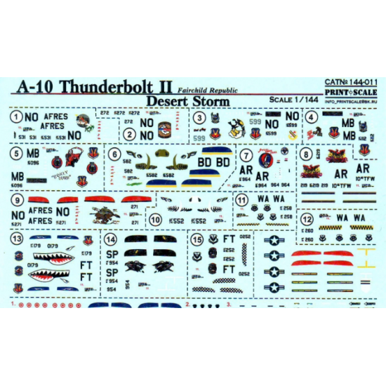 DECAL FOR A-10 THUNDERBOLT II 1/144 PRINT SCALE 144-011