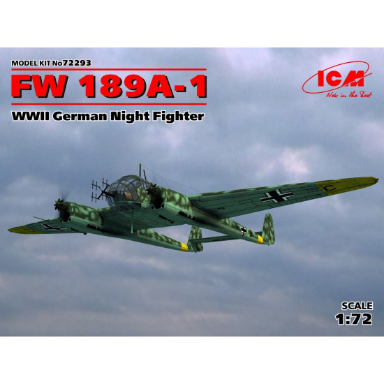 PLASTIC MODEL AIRPLANE FW 189A-1 WWII GERMAN NIGHT FIGHTER 1/72 ICM 72293