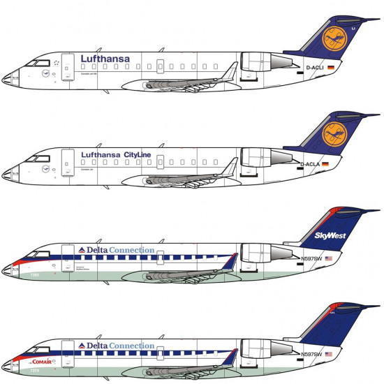 PLASTIC MODEL AIRPLANE KIT CRJ-100 1/72 BIG PLANES KITS 7207