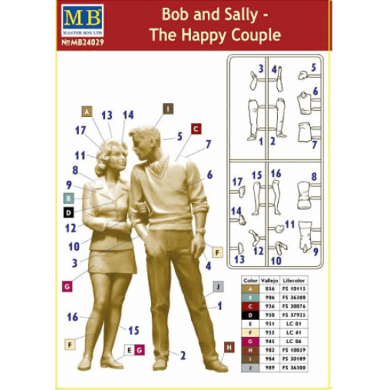 BOB AND SALLY - THE HAPPY COUPLE, DANGEROUS CURVES SERIES PLASTIC MODEL KIT 1/24 MASTER BOX 24029