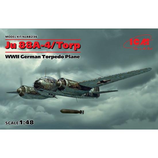 PLASTIC MODEL BUILDING JU 88A-4/TORP, WWII GERMAN TORPEDO PLANE 1/48 ICM 48236