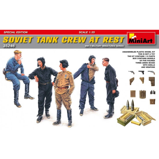 SOVIET TANK CREW AT REST. SPECIAL EDITION - PLASTIC MODEL KIT SCALE 1/35 MINIART 35246