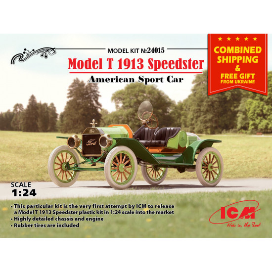 FORD PLASTIC MODEL T 1913 SPEEDSTER AMERICAN SPORT CAR 1/24 SCALE  ICM 24015