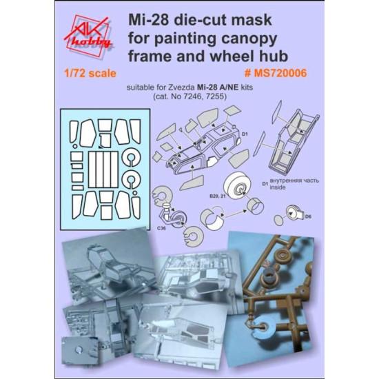 DAN MODELS MS 720006 MI-28 DIE-CUT MASK FOR PAINTING CANOPY FRAME AND WHEEL HUB