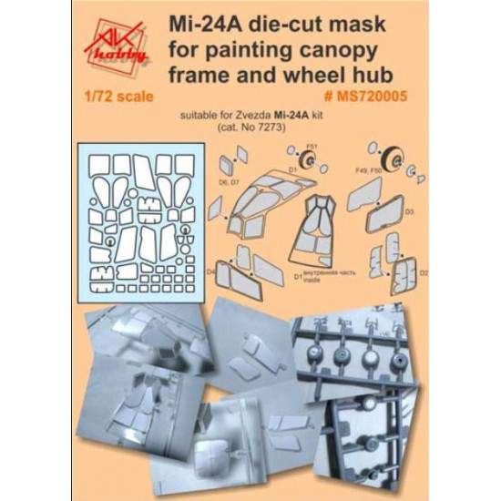 DAN MODELS MS 720005 MI-24A DIE-CUT MASK FOR PAINTING CANOPY FRAME AND WHEEL HUB