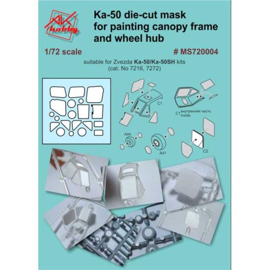 DAN MODELS MS720004 KA-50 DIE-CUT MASK FOR PAINTING CANOPY FRAME AND WHEEL HUB