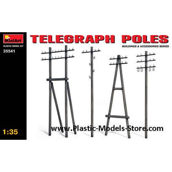 TELEGRAPH POLES 4 types for diorama 1/35 Miniart 35541