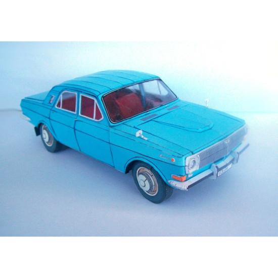 """PAPER MODEL KIT CIVILIAN CARS , GAZ-24 """"VOLGA"""" 1/25 OREL 162"""