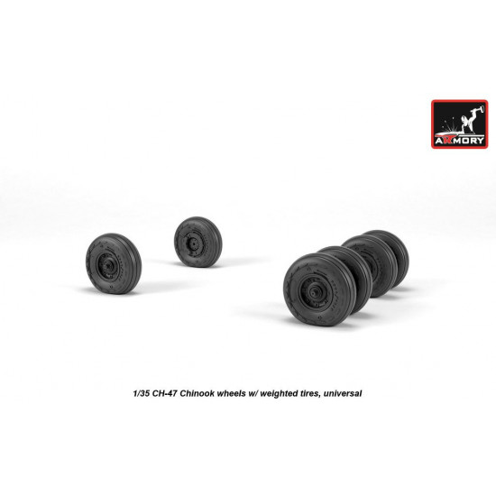 1/35 CH-47 Chinook wheels w/ weighted tires, universal